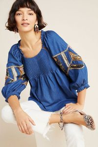 Seen Worn Kept Ulla Patchwork Denim Blouse | blue boho top