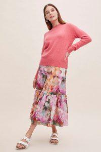 Kachel Ruffled Tie-Dye Silk Skirt in Pink
