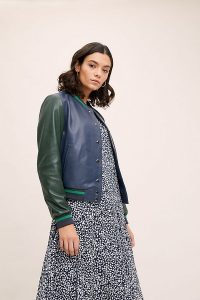 Anthropologie Colourblocked Leather Bomber Jacket in Navy