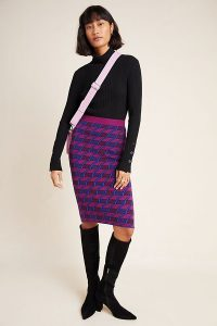 Maeve Nancy Knitted Pencil Skirt in Purple Motif