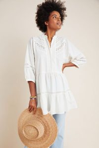 Anthropologie Vicenza Lace Babydoll Tunic in Ivory