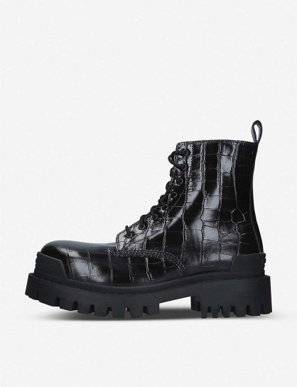 BALENCIAGA Strike croc-embossed leather platform ankle boots in black - flipped