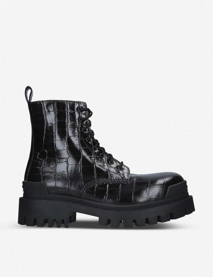 BALENCIAGA Strike croc-embossed leather platform ankle boots in black