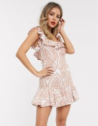 Bardot broderie flippy hem mini dress in taupe | ruffle trimmed | tie back detail