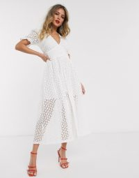 Bardot broderie puff sleeve midaxi dress in white | spring parties | outdoor events
