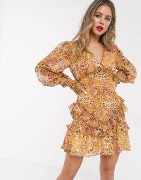 Bardot long sleeve shirred frill hem mini dress in mustard/blush leopard print | animal printed dresses