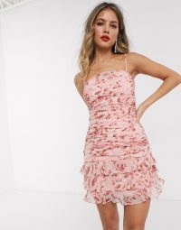 Bardot ruched cami mini dress with tiered hem in peach floral print
