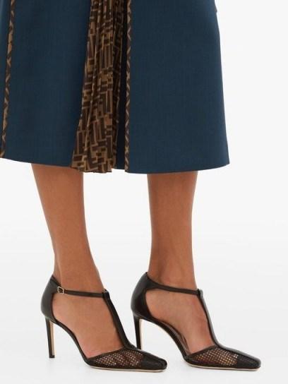 JIMMY CHOO Batu 85 leather and mesh sandals in black ~ classic T-bar shoes - flipped