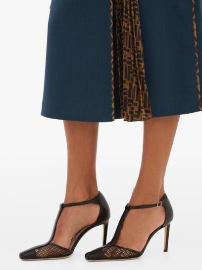 JIMMY CHOO Batu 85 leather and mesh sandals in black ~ classic T-bar shoes