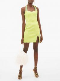 HALPERN Beaded matelassé mini dress in green | evening glamour