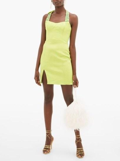 HALPERN Beaded matelassé mini dress in green | evening glamour - flipped