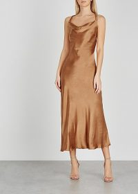 BEC & BRIDGE Lana caramel satin midi dress