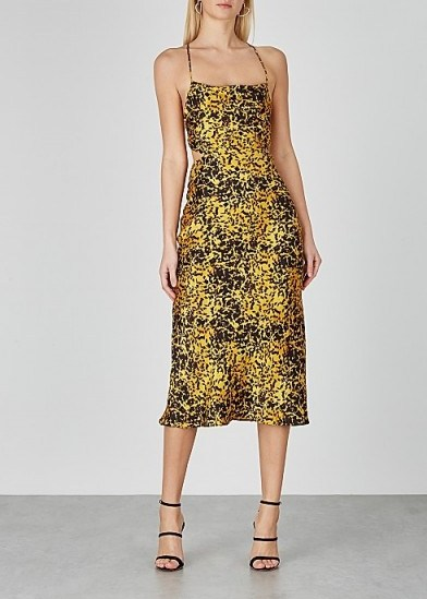 BEC & BRIDGE Turtle Rock printed silk midi dress in yellow/black – strappy back dresses - flipped