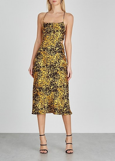 BEC & BRIDGE Turtle Rock printed silk midi dress in yellow/black – strappy back dresses