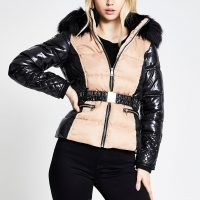 River Island Beige blocked padded belted coat | high shine jackets