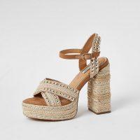 RIVER ISLAND Beige studded espadrille platform sandals – 70s look summer sandal