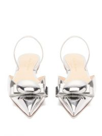 RUPERT SANDERSON Belinda pebble mirrored-leather slingback flats in silver ~ metallic point toe flats