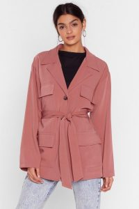 NASTY GAL Belted Woven Jacket in rose