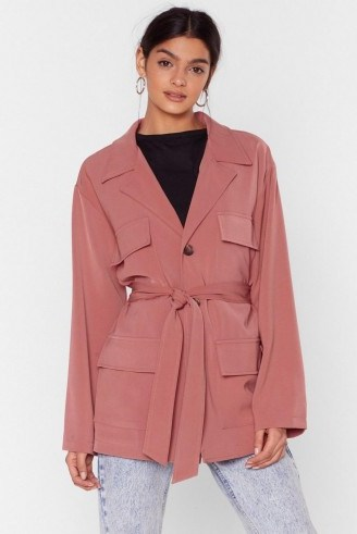 NASTY GAL Belted Woven Jacket in rose - flipped