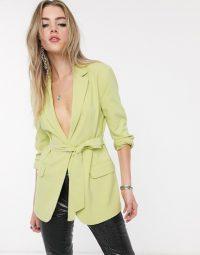 Bershka tie-waist blazer in lime green – bright belted jackets