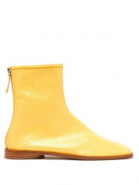 ACNE STUDIOS Berta square-toe grained patent-leather boots in yellow