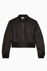 Topshop Black Cropped Bomber Jacket