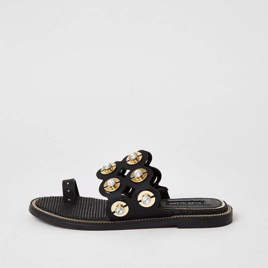 River Island Black embellished cut out toe sandals