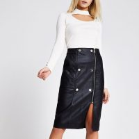 River Island Black faux leather quilted zip midi skirt | front slit skirts