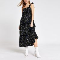 River Island Black floral tie strap midi smock dress | 70s summer style dresses