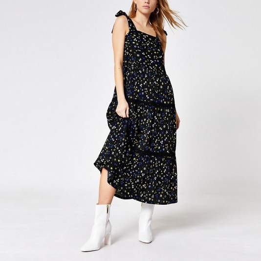 River Island Black floral tie strap midi smock dress | 70s summer style dresses - flipped