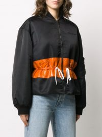 GIVENCHY contrast band bomber jacket in black | casual drawstring waist jackets