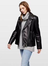 MISS SELFRIDGE Black Leather Oversized Biker Jacket