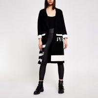 River Island Black RVR knitted longline duster jacket