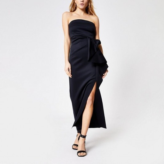 RIVER ISLAND Black sleeveless ruffle bodycon maxi dress – strapless – evening dresses - flipped