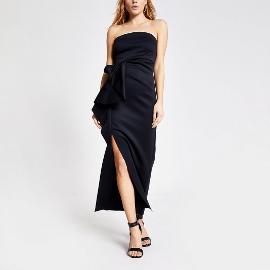 RIVER ISLAND Black sleeveless ruffle bodycon maxi dress – strapless – evening dresses