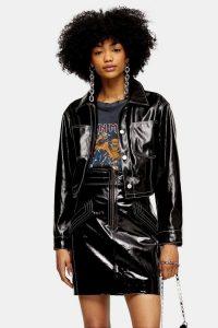 TOPSHOP Black Vinyl Crop Biker Jacket – shiny – high shine