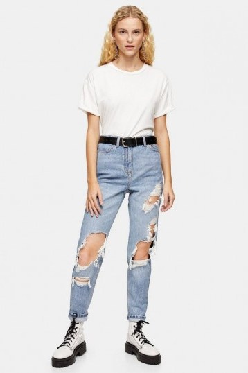 Topshop Bleach Super Rip Mom Jeans in Bleach Stone | destroyed light denim - flipped