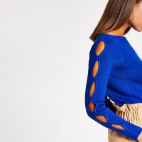 River Island Blue cut out long sleeve knitted top | contemporary knits