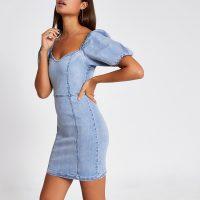 River Island Blue puff sleeve fitted denim mini dress | sweetheart neckline dresses