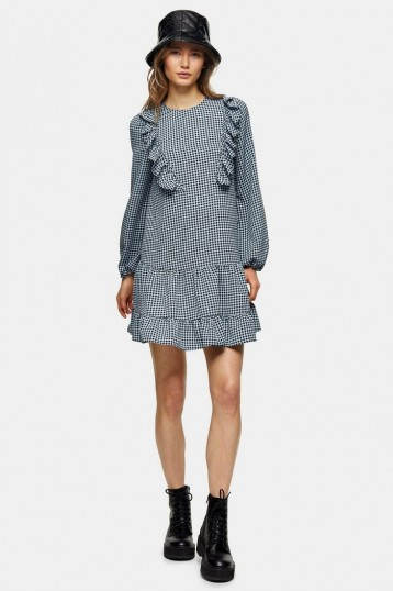 Topshop Blue Ruffle Chuck On Mini Dress
