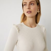 Warehouse BOBBLE RUFFLE RIBBED JUMPER in Cream | pretty neutral knits