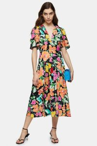 TOPSHOP Bold Floral Print Angel Sleeve Midi Dress / bright florals