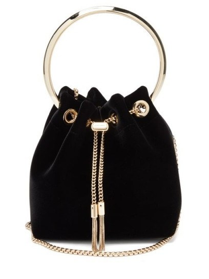 JIMMY CHOO Bon Bon black velvet clutch bag – small evening bags - flipped