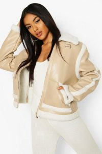 boohoo Bonded Faux Leather Teddy Trim Jacket in stone – neutral