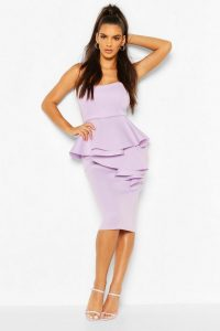 boohoo Scuba Bandeau Ruffle Midi Dress in Lilac – strapless party dresses