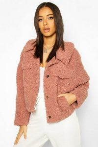 boohoo Bonded Teddy Faux Fur Jacket in rose – pink – textured