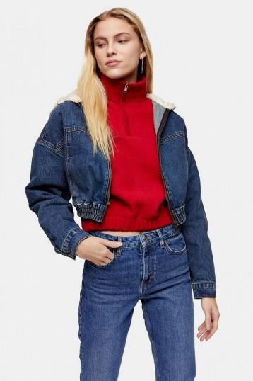 Topshop Borg Zip Through Crop Denim Jacket