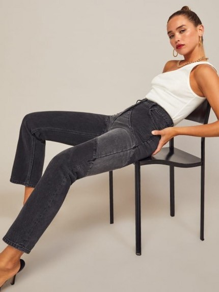 Reformation Bowie Jean in Monterey | panel detail jeans - flipped
