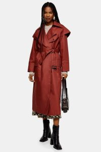 TOPSHOP Brick Red Editor Trench – stylish belted mac