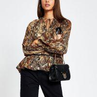 RIVER ISLAND Brown animal print long sleeve smock blouse